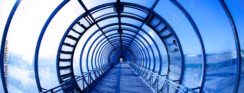 Foto op Canvas Tunnel Interior blue tunnel