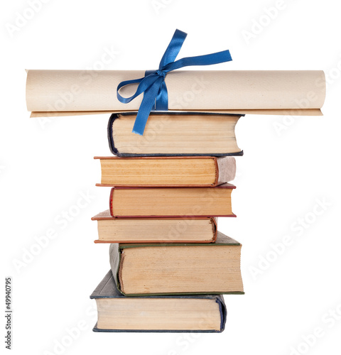 Diploma with blue ribbon and books Wallpaper Mural