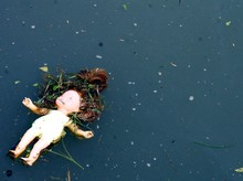 Abandoned Toy Doll On Pond Water Dark