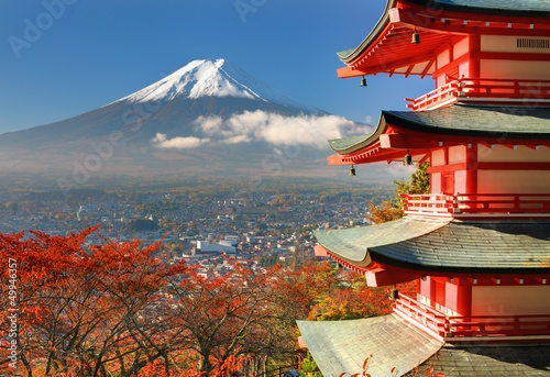 Spoed Foto op Canvas Japan Mt. Fuji and Pagoda