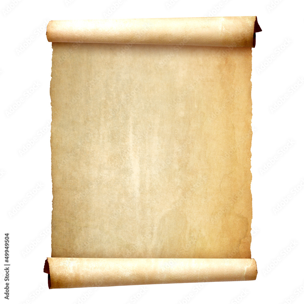 Fototapety, obrazy: Old vintage scroll isolated on white background