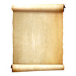 canvas print picture - Old vintage scroll isolated on white background