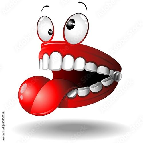 Fényképezés Funny False Teeth Cartoon Dentiera Divertente-Vector