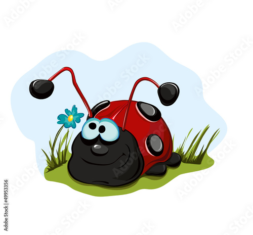 Poster Lieveheersbeestjes Cheerful ladybug for children.