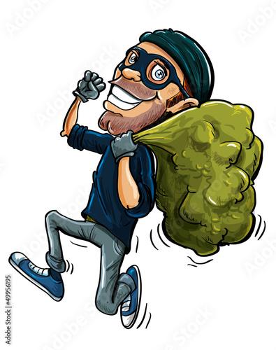 Fotografía  Cartoon thief running with a bag of stolen goods