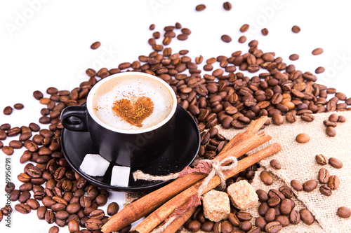 Wall Murals Cafe Cup of coffee with a heart. Coffee break concept.