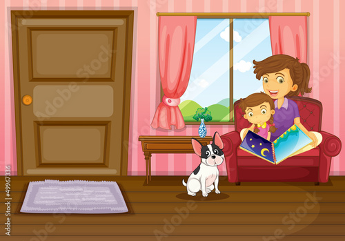Poster Dogs A mother and a girl reading with a dog inside the house