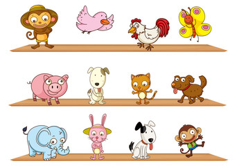Different kinds of toy animals