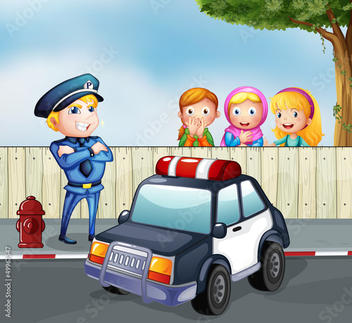 Poster Cars A policeman and the three girls outside the fence