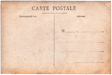 Carte Postale Ancienne, Verso Vierge