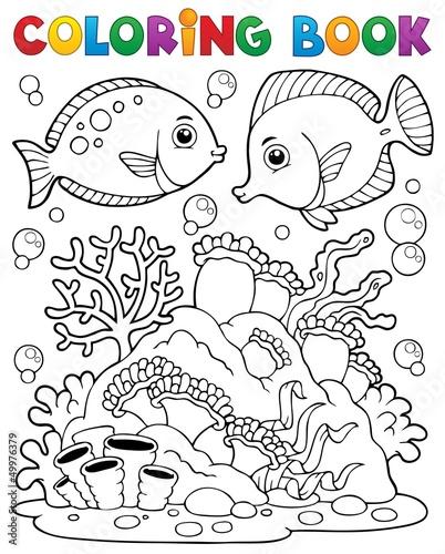 Spoed Foto op Canvas Doe het zelf Coloring book coral reef theme 1