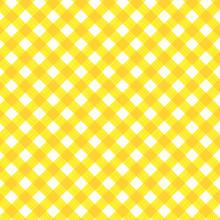 Yellow Gingham Fabric Cloth, S...