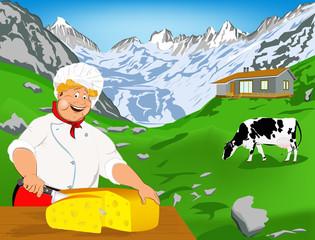 Šef kuhinje i Prirodni švicarski mliječni sir od krave s livadom u Alpama