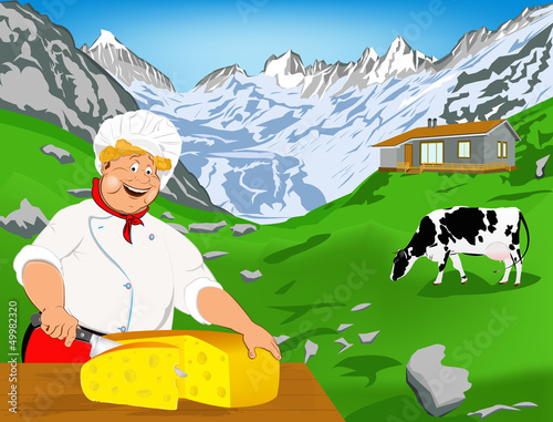 Spoed Foto op Canvas Boerderij Chef and Natural swiss dairy cheese from cow with alps meadow