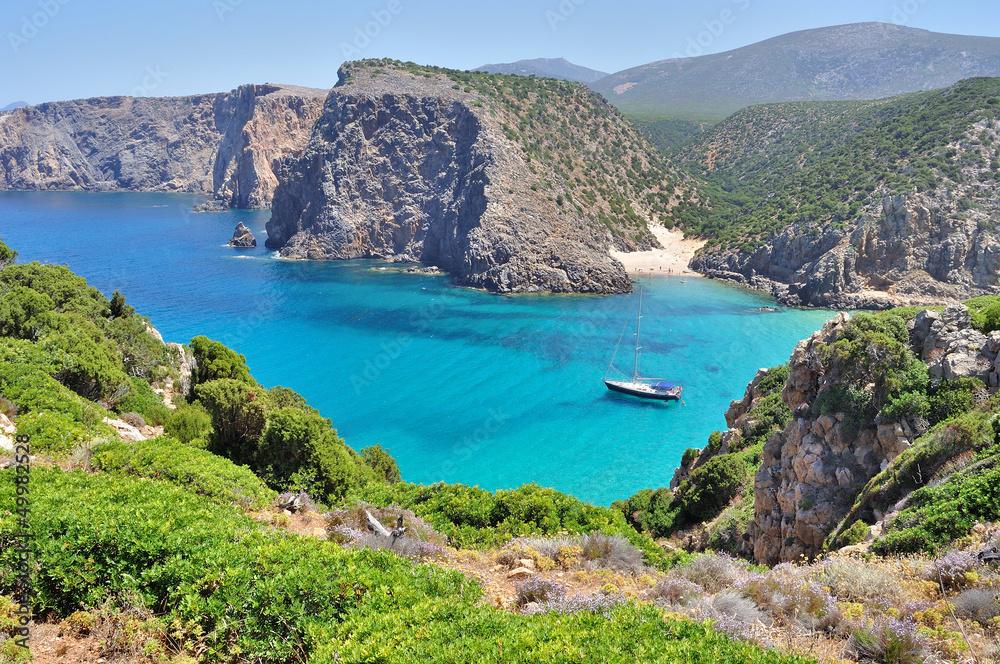 Photo  View of Cala Domestica beach, Sardinia, Italy