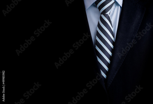 Fotografía Black business suit with a tie and copyspace background