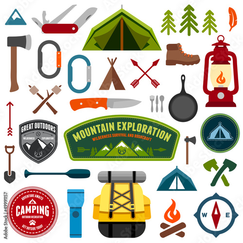 Fotografie, Obraz  Camping symbols