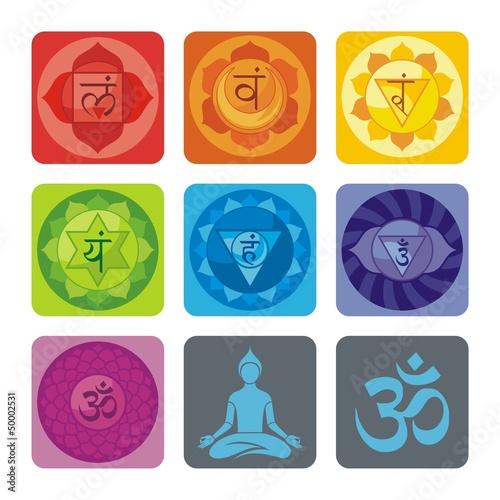 Fotografie, Obraz  Spiritual set with chakras and yoga icons