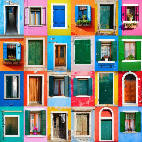 Collage von Türen und Fenstern aus Burano Фотошпалери