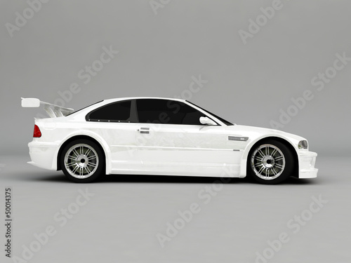 Foto op Canvas Snelle auto s 3D Sportcar isolated on gray background