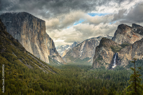 Stormy Clouds over Tunnel View in Yosemite Poster