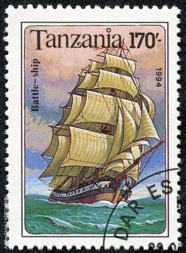 Fotografia  stamp printed in Tanzania shows Battle Ship