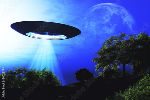 Photo  Ufo Flying on Earth at Night over Field