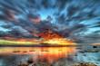 canvas print picture - Crépuscule sur le lagon de La Réunion.
