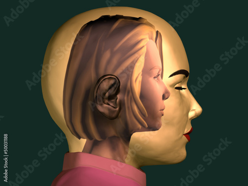 Vászonkép  inner child, young girl inside of a female head