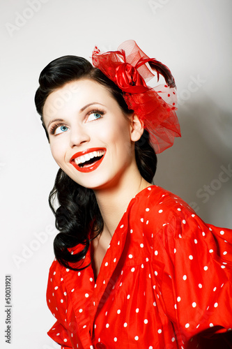 retro style happy toothy smiling woman in pin up red dress buy