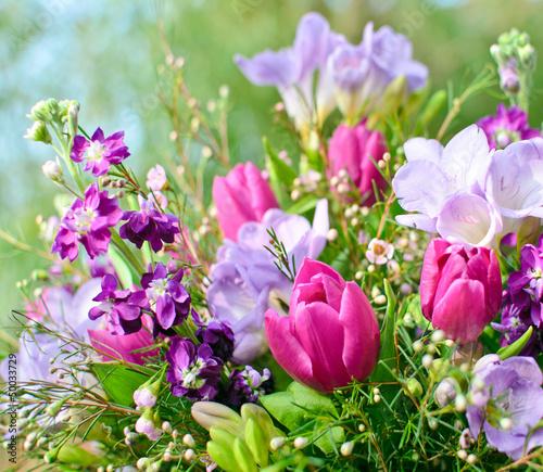 Plakat Przebudzenie wiosny: kwiat marzenie w kolorze fioletowym i różowym