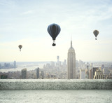 Fototapeta New York - air balloon on sky