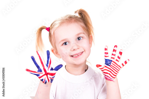 Fotografie, Obraz  American and English flags on child's hands.
