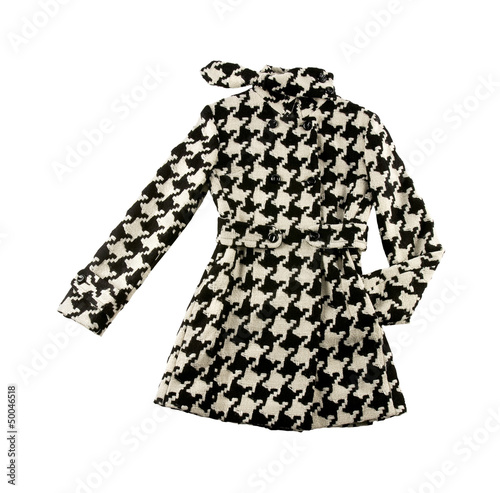 Photo  Black and white houndstooth check woolen cute coat
