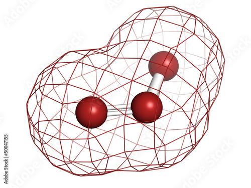 Ozone (trioxygen, O3) molecule, chemical structure.
