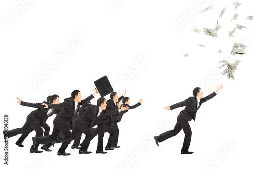 In de dag Art Studio excited businessman running to the money