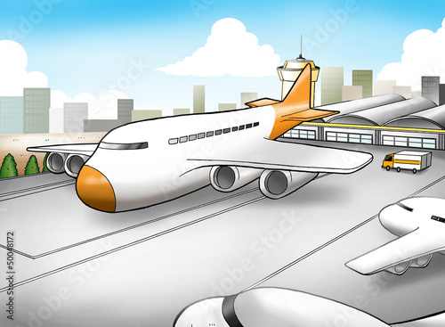 Montage in der Fensternische Flugzeuge, Ballons Cartoon illustration of an airport