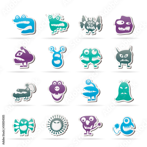 La pose en embrasure Creatures various abstract monsters illustration - vector icon set