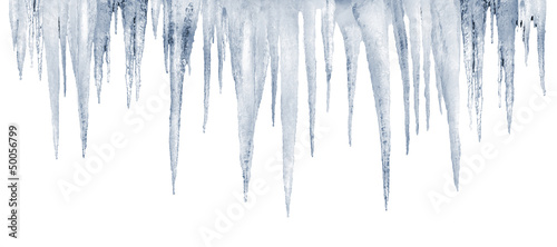 Fotografía number of natural icicles on a white background