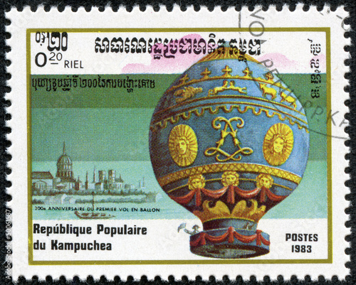 Deurstickers Ballon stamp featuring the Montgolfier hot air balloon