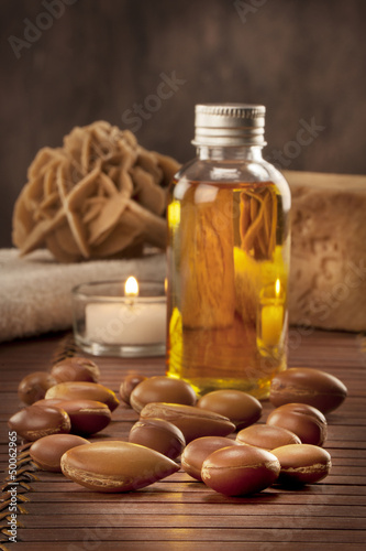 seeds of argan with light and soap Canvas Print