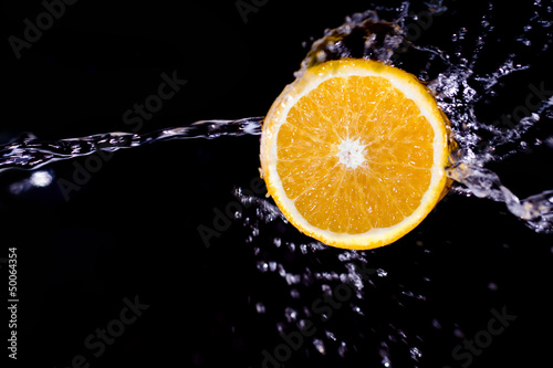 Poster Eclaboussures d eau Orange Splash
