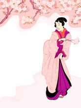 Vintage Japanese Geisha Enjoyi...