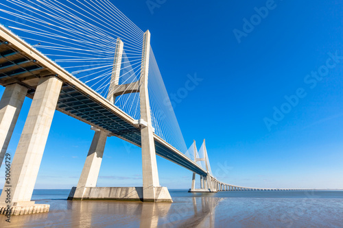 Modern bridge fragment: Vasco da Gama Bridge, Lisbon Canvas Print