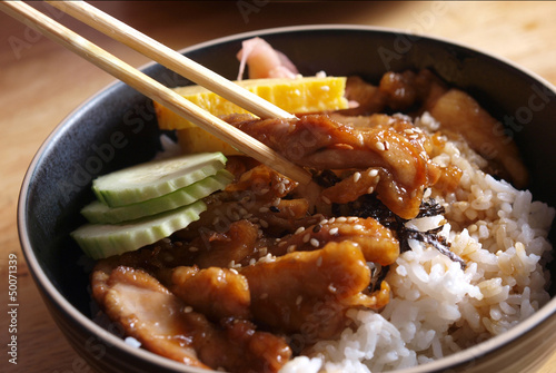 Chicken teriyaki with rice Wallpaper Mural