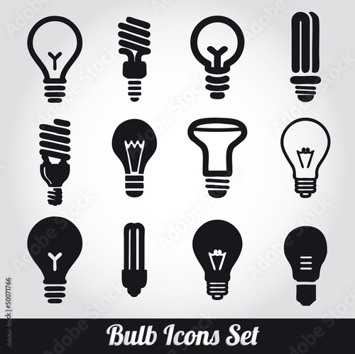 Fotografie, Obraz  Light bulbs. Bulb icon set