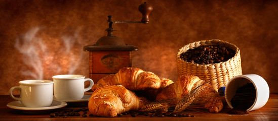 Panel Szklany Do kawiarni Caffè e Croissant caldi