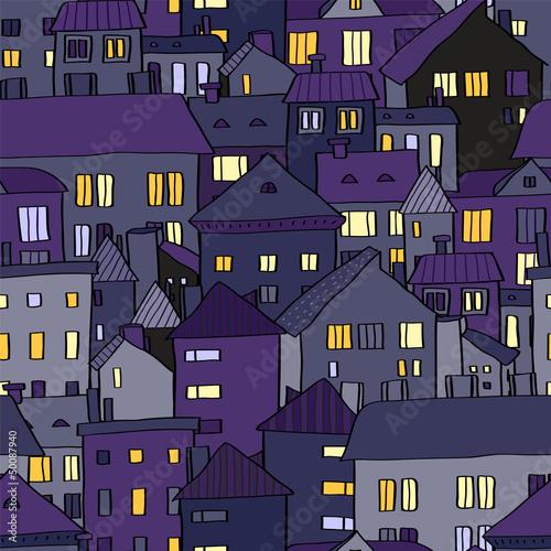 panoramy-stary-miasteczko-przy-noca-w-fiolkowym-bezszwowym-wzorze-wektor
