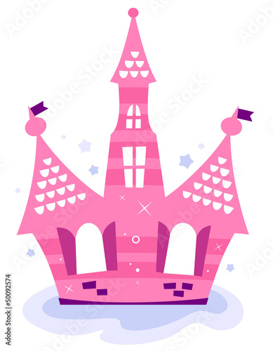 Deurstickers Pony Pink princess sky Castle isolated on white