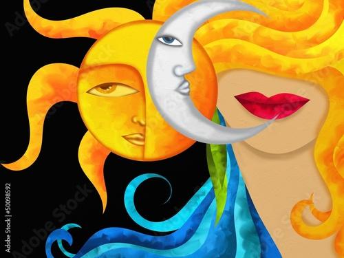 Obraz viso con sole e luna - fototapety do salonu